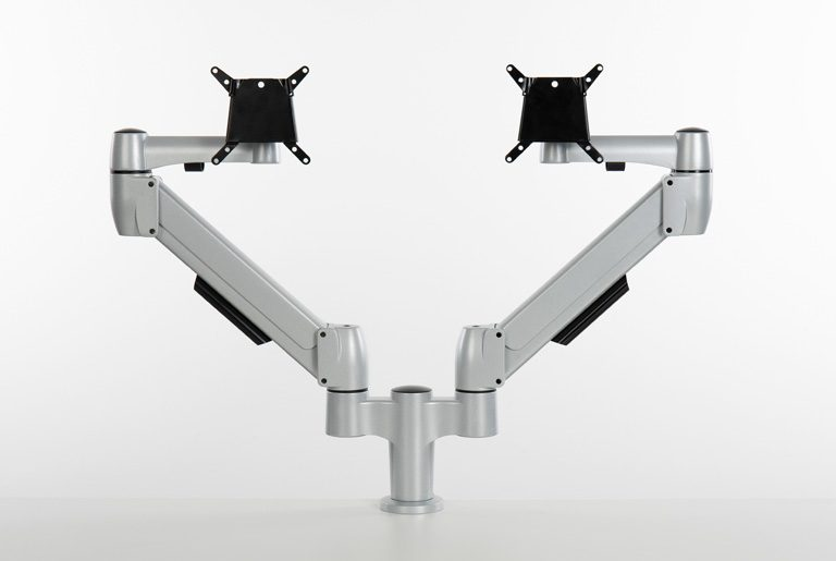 Double SpaceArm monitor arms with VESA mounts