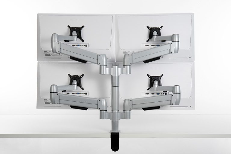 Back of two tier double SpaceArm monitor arms with four monitors