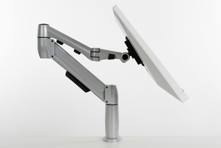 Flyt monitor arm for touchscreen monitor in reading position