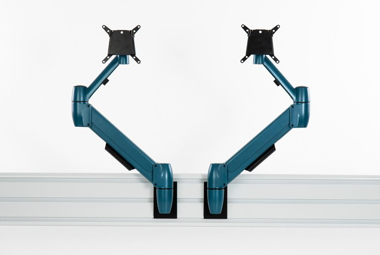 Two SpaceArm monitor arms in bespoke blue colour fixed to a SpaceBeam tool rails