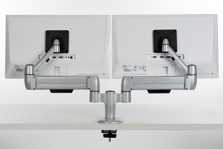 Revers of double SpaceArm monitor arm with screens