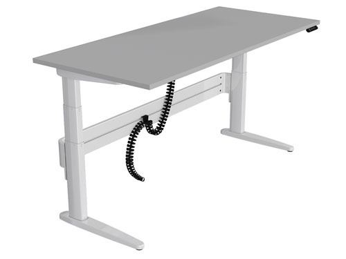 Freestanding straight sit-stand desk in white