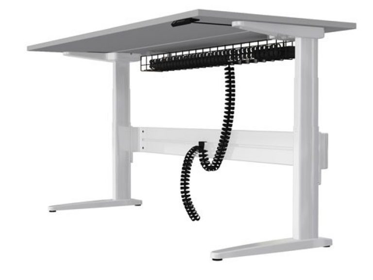 Freestanding straight sit-stand desk in white with under desk cable management