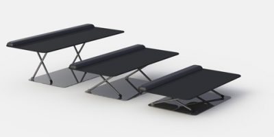 Three different heights of the Keyboard Platform that allows you to move between sitting and standing posiitons when working