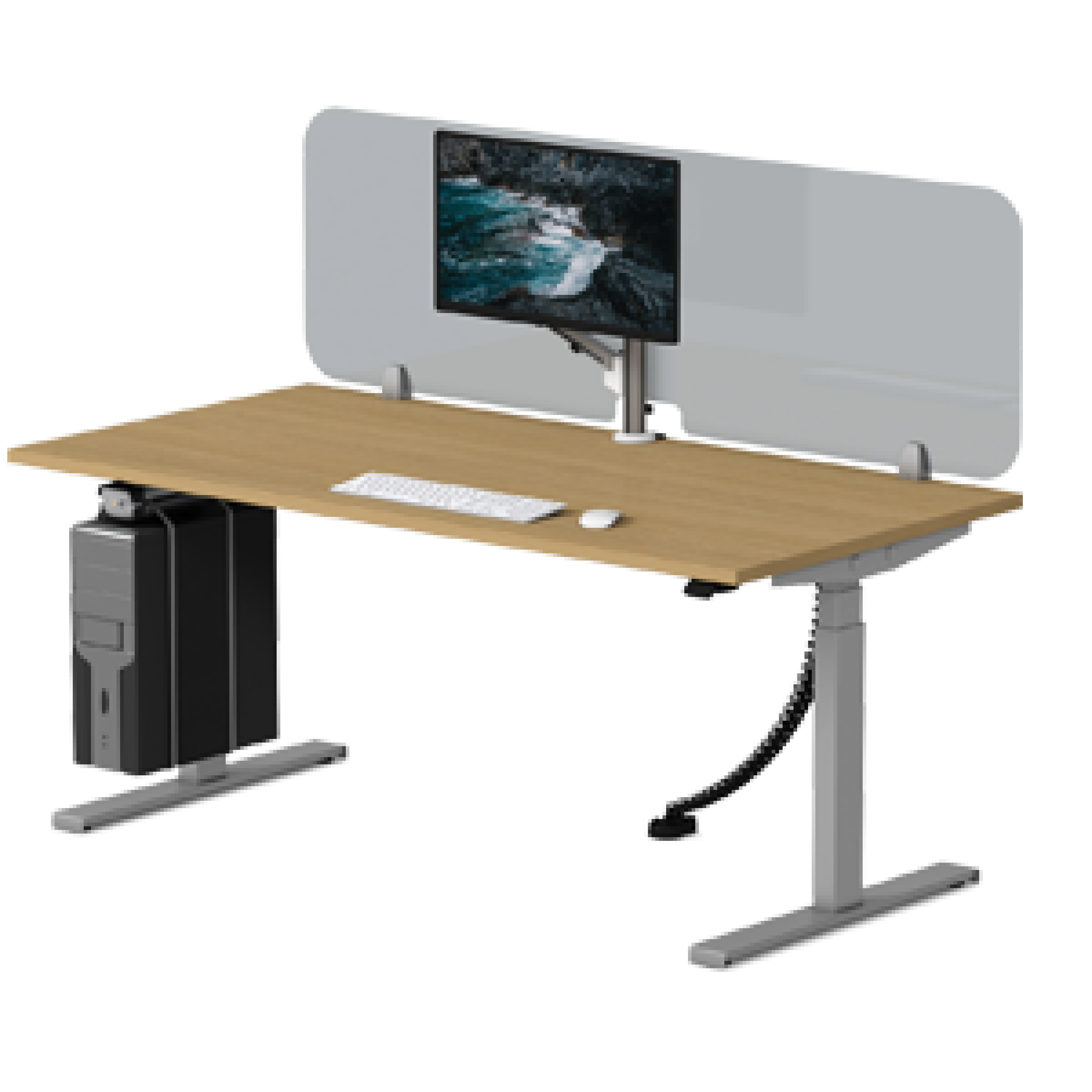 Synergie-desk-with-sneeze-guard-1