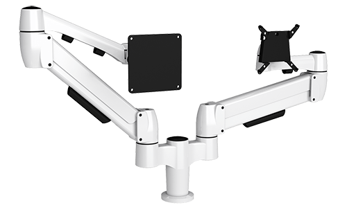 A white SpaceArm double monitor arm